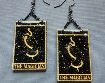 Tarot Cards Earrings Magician Black and Gold Glitter Celestial Dangle Drop Earrings, Witchy Jewelry Earrings Divination Tarot Card Jewelry