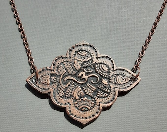 AUM OM Symbol Necklace Handmade & Painted In Antiqued Copper Faux Finish Sacred Symbol For Meditation Amulet Jewelry