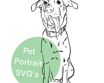Minimalistic Customized Line Pet Portrait SVG and PNG files for Cricut, Silhouette, and cutting machines