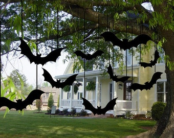 12 Black Scary Bats for Halloween Yard Decoration | Party Supplies | Decorative Scary Bats | Halloween Eve Decor Home, garden, tree, wall