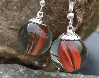 marble earrings, Red glass marble earrings, retro glass earrings, cats eye marble earrings, toy marble jewellery
