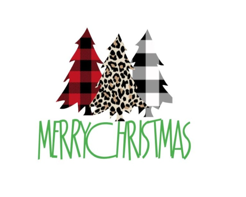 Buffalo Check and Cheetah Print Christmas Tree Vinyl Decal Signs Cups Decor Permanent Decal for Mugs Laptops Tumblers Bumper Stickers