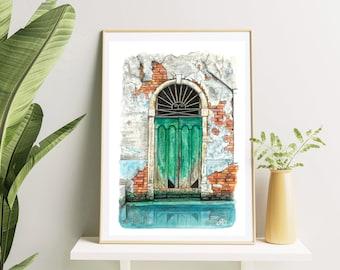 Watercolor Print from Original Watercolor Painting, Venice Italy, Venice door, Watercolor Print, Old Venice Door, Venice Painting