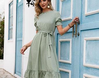 Greek High Waist Midi Dress Green