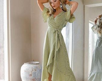 Short Sleeve Midi Dress Gingham Green
