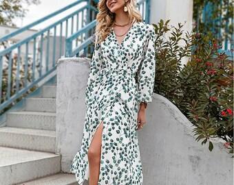 V-neck Green Leaf Print Maxi Dress