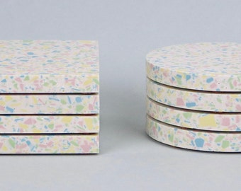 Square & Round Multicoloured Jesmonite Terrazzo Coasters