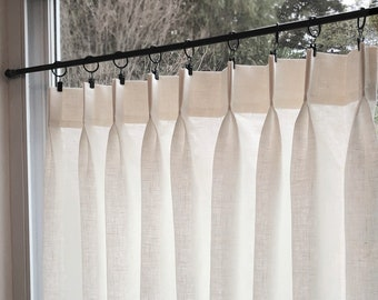 Double Pleated Cafe Curtains 100% Semi Sheer Off White Linen - Great Look For A Country kitchen Or Farmhouse Look.