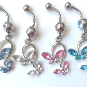 Stunning silver belly bar butterfly diamanté dangle clear pink purple rainbow
