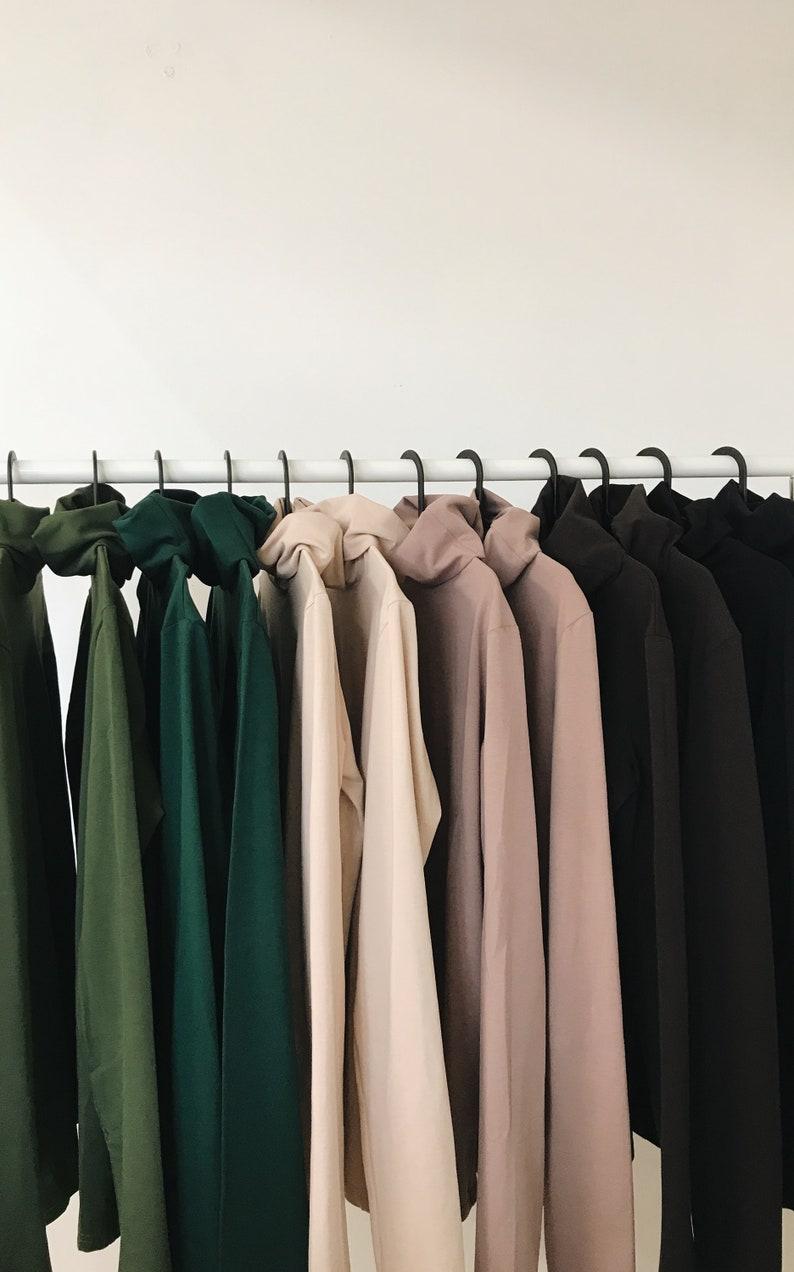 Women top turtleneck top long sleeve top premium cotton stretch tops for women women/'s basic