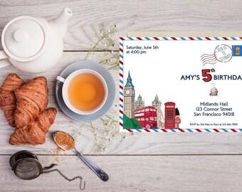 London Theme Invitation | British Icons | Postcard Invitation | Baby Shower | Birthday | Any Age | DIGITAL | DIY Print