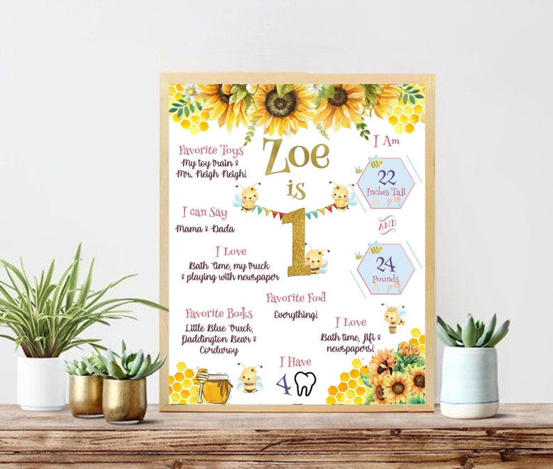 Sunflowers & Bumble Bees Birthday  Summer Time Birthday  image 0