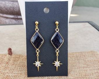 blue sandstone and stainless steel moon phase earrings Gemstone earrings