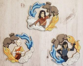 Three Avatars Transparent Sticker Set