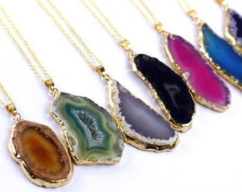 Black Banded Agate pendant Black Onyx 14k gold filled necklace Gift for Her boho chic jewellery