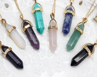 minimalist multicolor gift geometric gold neutral modern Necklace quartz crystal double point pendant  necklace on gold chain