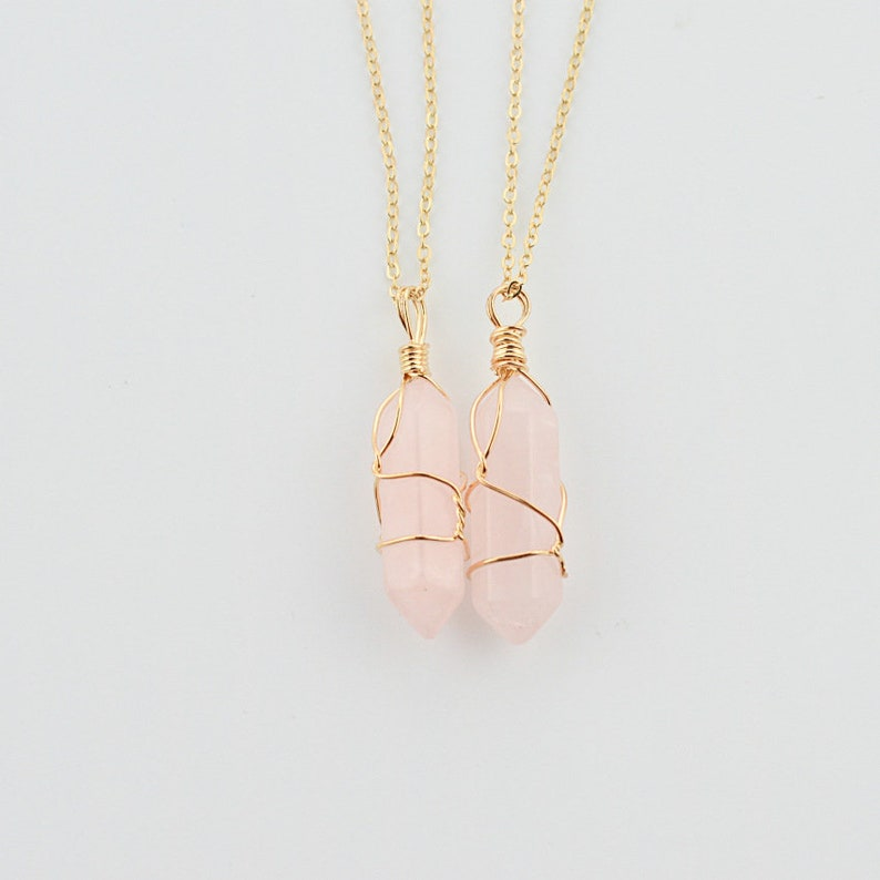 Gold Wire Wrapped Rose Quartz Clear Quartz Opalite Amethyst Green Aventurine Point Necklace,Terminated Point Pendant Crystal Point Necklace
