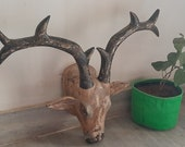 Old Wooden Deer Head Wall Mount Painted Wall Hanging Reindeer Head Statue Indian Wall Decor Home Decor Animal Face Figurine Indian Furniture