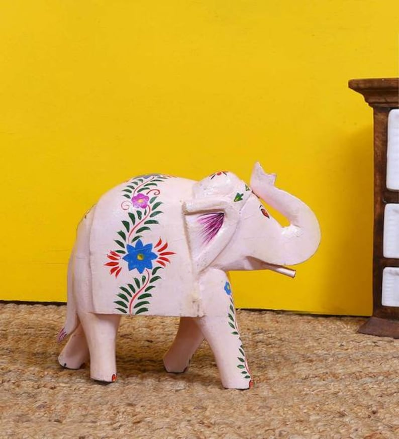 Hand made hand painted elephant Indian elephant Indian painted elephant Indian furniture Wooden elephant with fine finish 3
