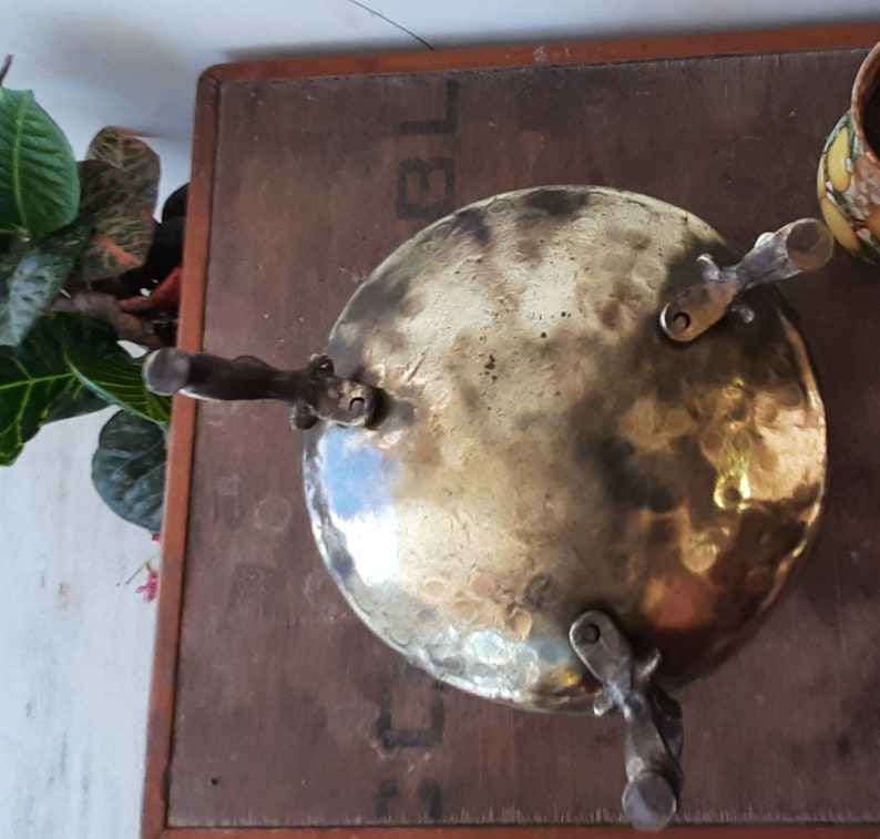 Antique Pure Brass Water Pot With StandBrass Planter Pot With Peacock Design LegsHome Decor Flower PotHandcrafted Brass Pot On Three Legs