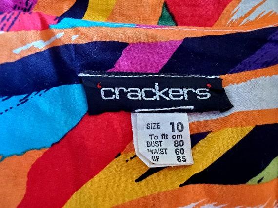 80's bright abstract print Cotton Dress, Miami, r… - image 8