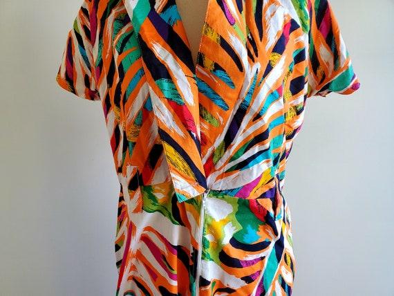 80's bright abstract print Cotton Dress, Miami, r… - image 10