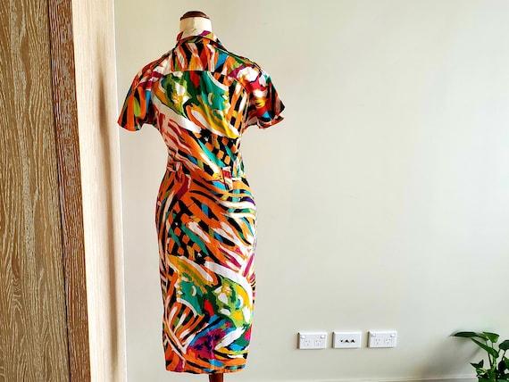 80's bright abstract print Cotton Dress, Miami, r… - image 7