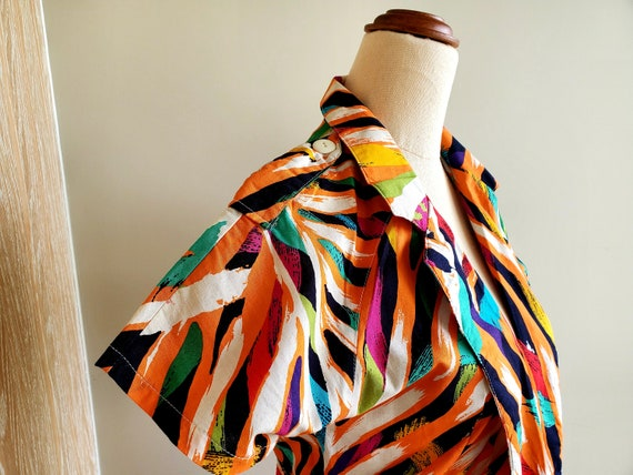 80's bright abstract print Cotton Dress, Miami, r… - image 4
