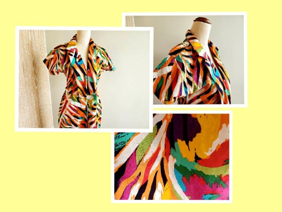 80's bright abstract print Cotton Dress, Miami, r… - image 1