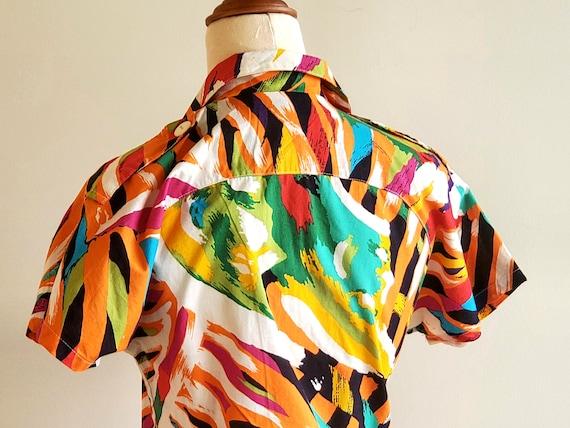 80's bright abstract print Cotton Dress, Miami, r… - image 6