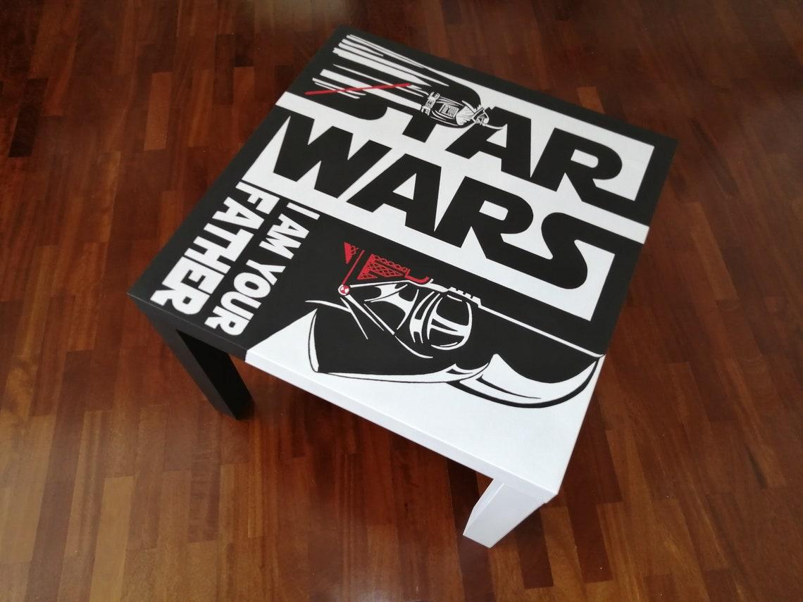 Star Wars Hand-painted table HandMade Acrylic PaintingPainting Furniture ModernArt ArtWork ArteTribute ArtePopart Darth Vader