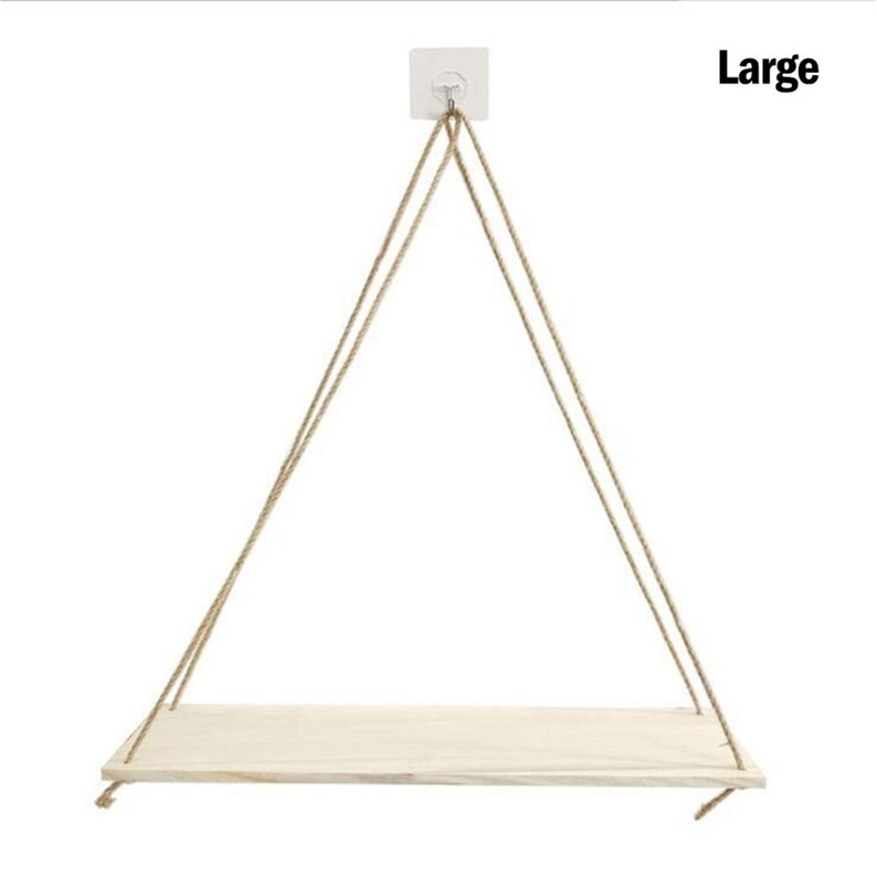 Wooden Rope Swing Wall Hanging Plant Flower Pot Tray Children Bedroom Rack Shelve Wall Shelf Sundries Storage Home Decoration