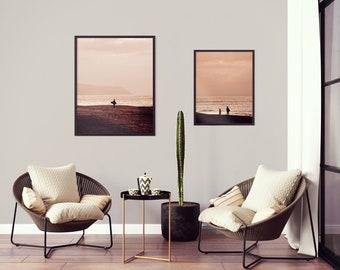 Minimalist, modern printable wall art. Warm sunset surfing in Hawaii, set of 2 photos. Digital photo print for your home decor.