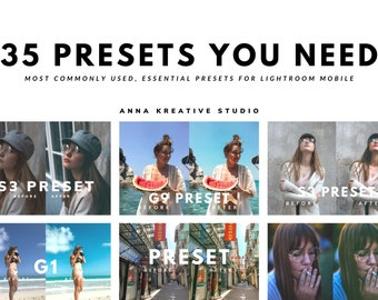 35 most commonly used, essential presets for Lightroom Mobile in one bundle