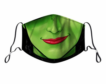 Wicked Elphaba Design Face Mask With Filter Pocket, Nose Wire, Adjustable Adult Kids Men Women Face Cover, Washable & Reusable Face Mask