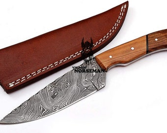Vikings Norseman Hand Forged Damascus Steel Hunting Knife with Ash Wood & Rose Wood Handle (VNM-104)