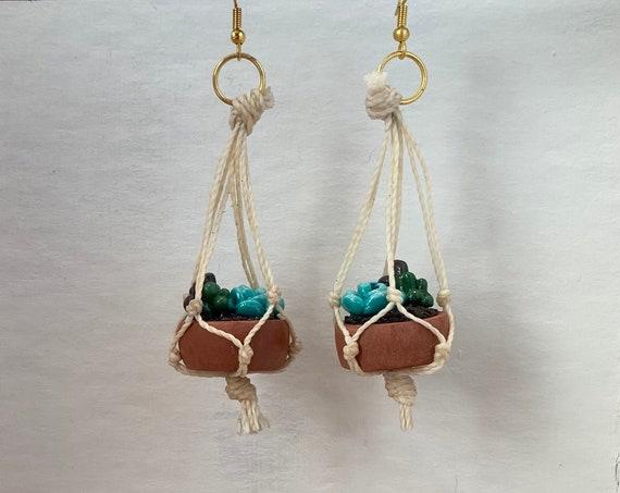 Hanging Succulent Planter Earrings