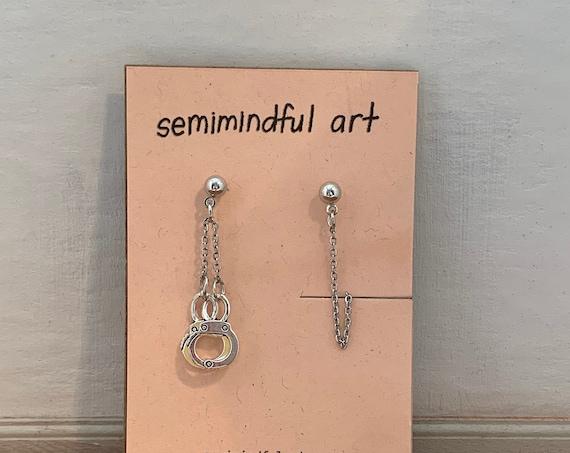 Asymmetrical Handcuff/Chain Earrings