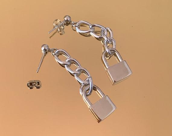 Drop Chain Lock Earrings