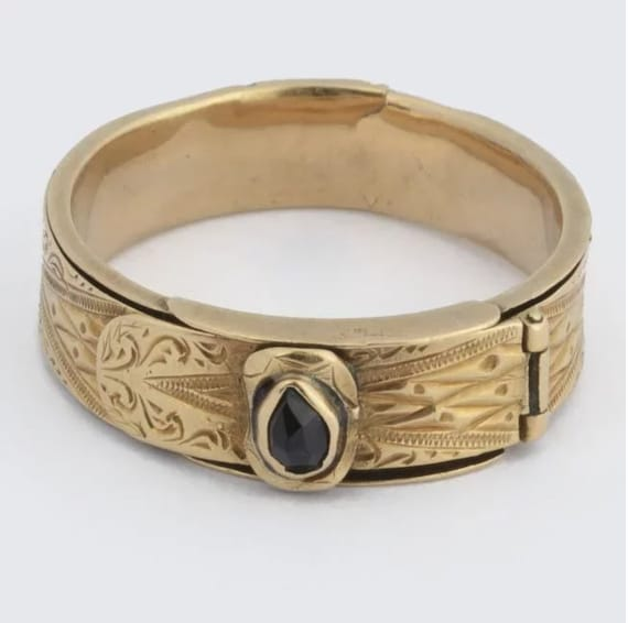 Antique Victorian Belt Ring, Victorian Ring 1850s