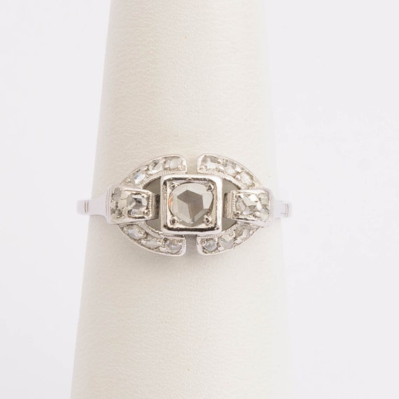 Art Deco Diamond Ring 18k White Gold 1930s
