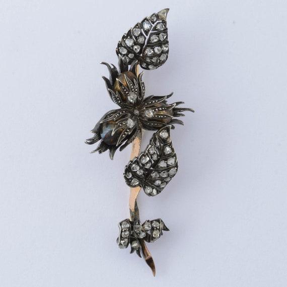 Antique Victorian diamond floral spray brooch 1850