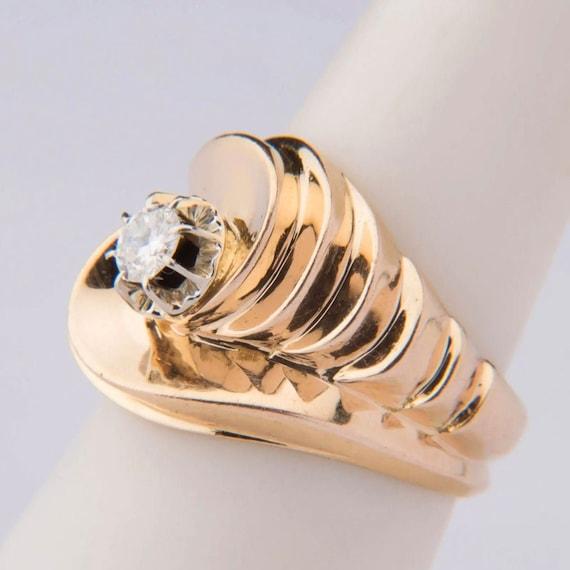 Retro Diamond Ring, 18K Yellow & White Gold 1940s