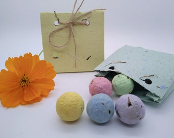 Wildflower seed bombs in seed paper gift bag or bulk, eco friendly, zero waste, sustainable, party favor, shower, gift, give away