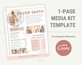 Media Kit Template Canva, Instagram Influencer Media Kit, Blogger Media Kit, Press Kit, Rate Sheet, Influencer Media Kit, Media Kit Template