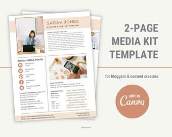 Media Kit Template Canva, Blogger Media Kit, Press Kit, Rate Sheet, Influencer Media Kit, Media Kit Template