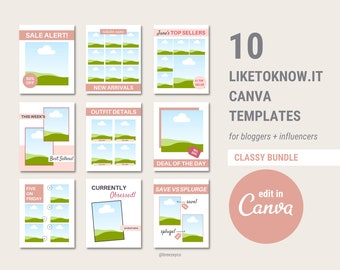 10 LikeToKnow.It Canva Templates For Bloggers and Influencers, LikeToKnow.It Collages, Influencer Canva Templates, Blogger Templates