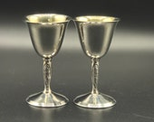 Small Vintage Silver-plated Sherry Port Liqueur Goblets by Yeoman Silver Plate Co.