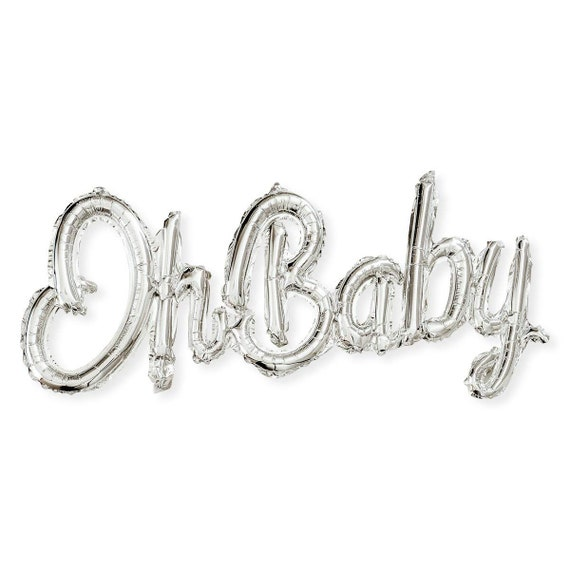 Oh Baby Sign, Silver Baby Shower Decorations Gender Neutral, Oh Baby Foil Balloons Banner, No Helium Required, Party Backdrop Decor