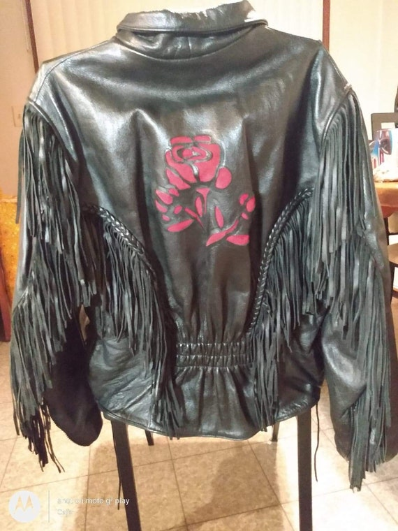 Leather women's motorcycle jacket